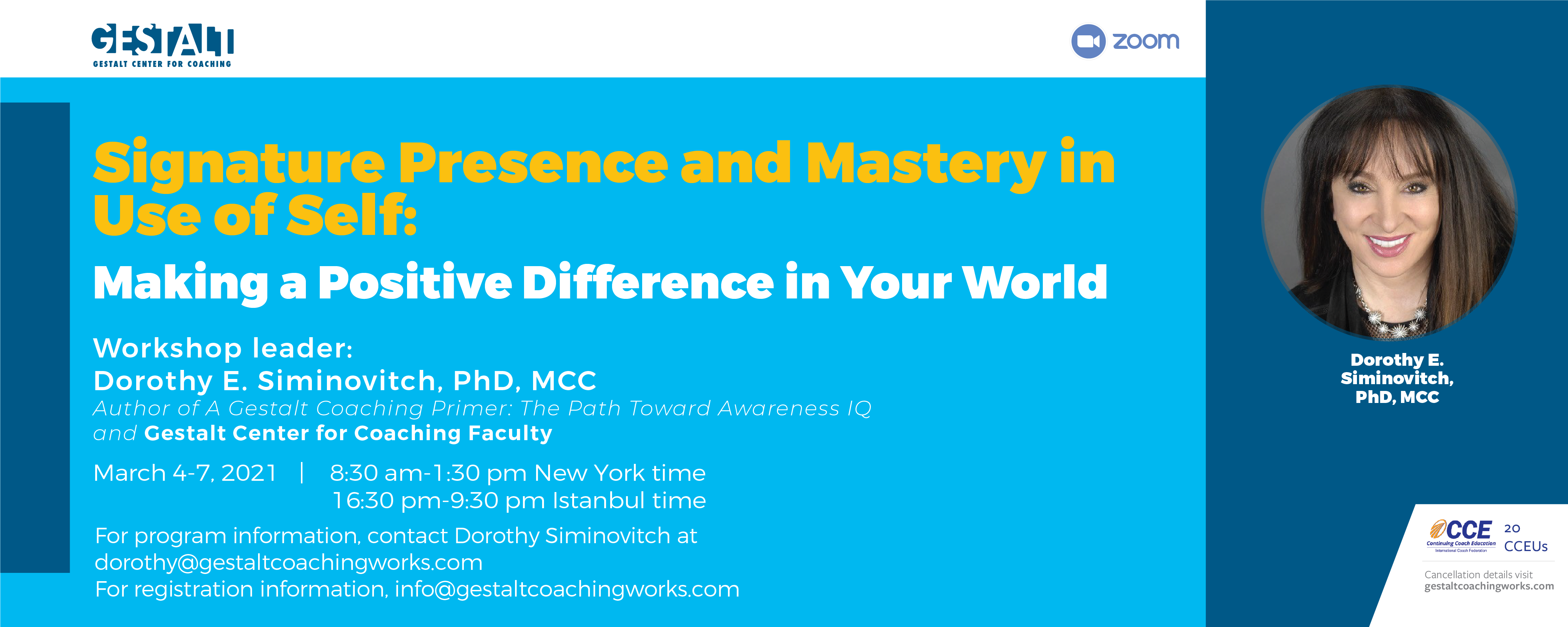 Presence and Mastery in Use of Self Workshop - March 2021